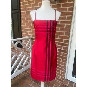 Red Silk Dress Kay Unger Silk Spaghetti Strap 8